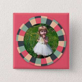 Fun Circle frame - vintage candy - hot pink Button