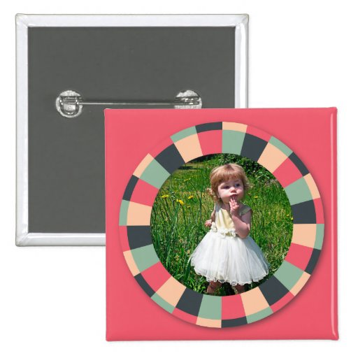 Fun Circle frame - vintage candy - hot pink Buttons