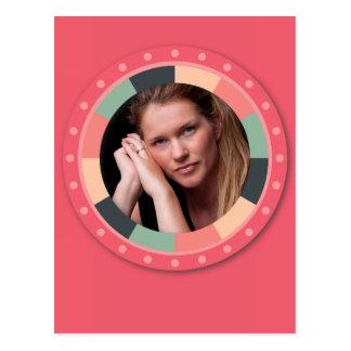 Fun Circle frame - vintage candy - hot pink Postcard