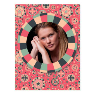 Fun Circle frame - vintage candy - pattern Postcard