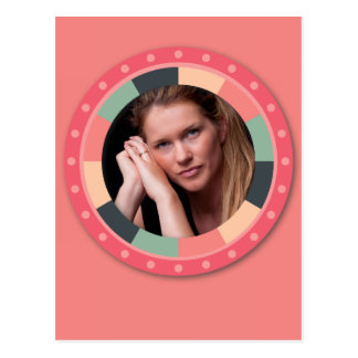 Fun Circle frame - vintage candy - pink2 Postcard