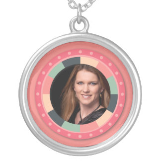 Fun Circle frame - vintage candy - pink2 Round Pendant Necklace