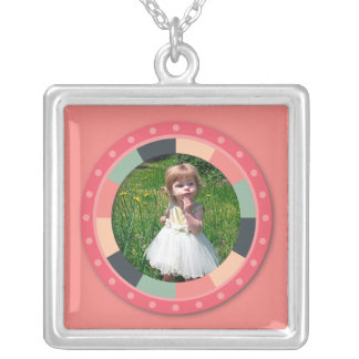 Fun Circle frame - vintage candy - pink2 Square Pendant Necklace