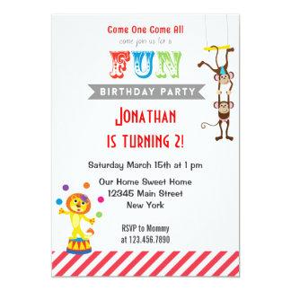 Fun Circus Animal Birthday Party Invitation