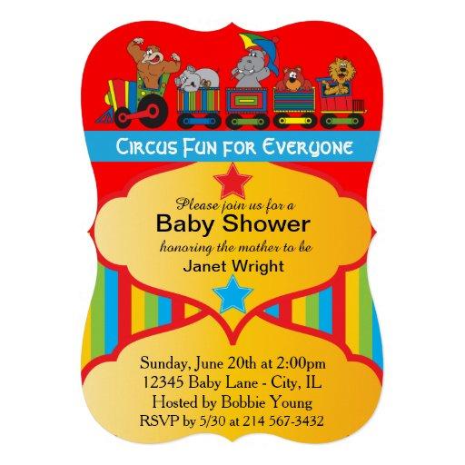 Fun Circus Animal Theme Custom Invite
