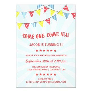 Fun Circus Birthday Party 5x7 Paper Invitation Card
