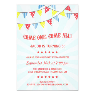 Fun Circus Birthday Party Card