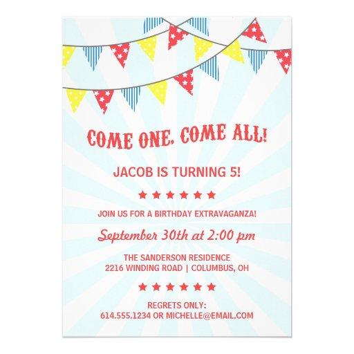 Fun Circus Birthday Party Cards