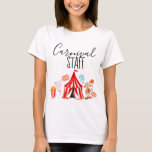 """Fun circus carnival staff kid party shirt<br><div class=""""desc"""">This is a cute fun circus carnival staff kid party shirt. This is the perfect carnival shirt you can wear to your carnival theme party.  This shirt has different carnival circus illustrations with the words &quot; carnival staff &quot; that you can change if needed.</div>"""