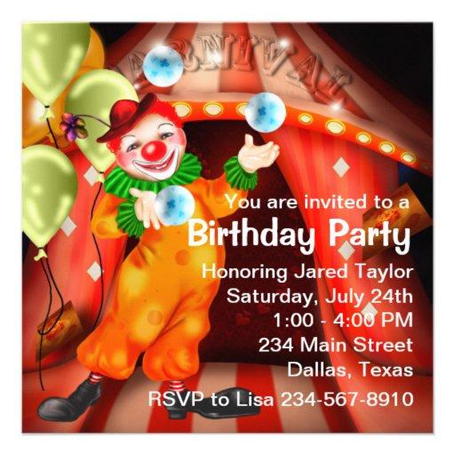 Fun Circus Clown Birthday Party Custom Invitations