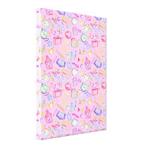 Fun Classroom Icons on Pink Canvas Print