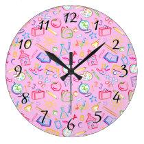 Fun Classroom Icons on Pink Large Clock