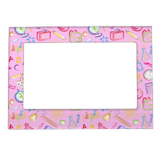 fun classroom icons on pink magnetic photo frame