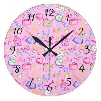 Fun Classroom Icons on Pink Wallclock