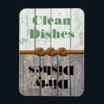 "Fun Clean / Dirty Dishwasher Magnet<br><div class=""desc"">Practical and stylish clean / dirty dishwasher magnet, graphics of a white washed wooden fence on one end, and rustic dirty wood fence boards, on the opposite end of the magnet. Graphics of a knotted rope decorates the middle of the magnet, and green and black reads, Clean Dishes and Dirty...</div>"