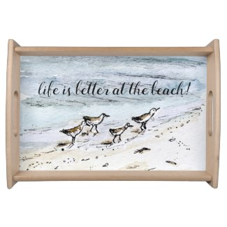 Fun coastal beach decor entertaining dining tray