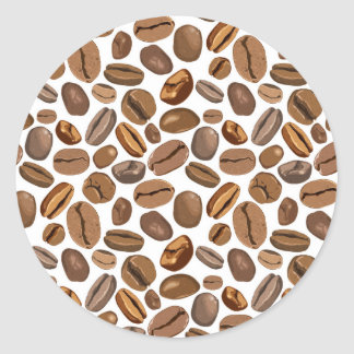 Fun Coffee Bean Design Classic Round Sticker