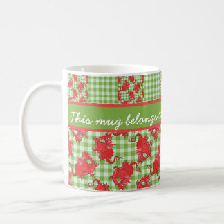 Fun Coffee Mug to Personalize: Cute Red Dragons