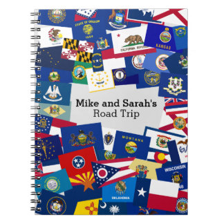 Fun Collage of State Flags Road Trip Spiral Notebook