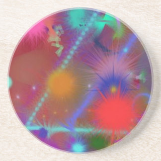 Fun Color Astro Chart Colorful Abstract Art Coaster