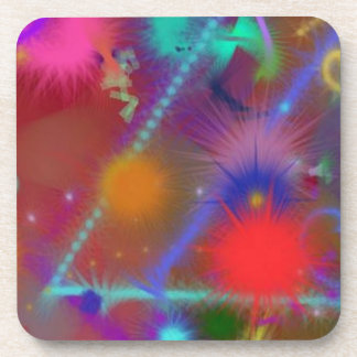 Fun Color Astro Chart Colorful Abstract Art Coasters