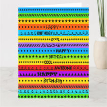 FUN COLOR BIG COOL AWESOME HAPPY BIRTHDAY GREETING CARD