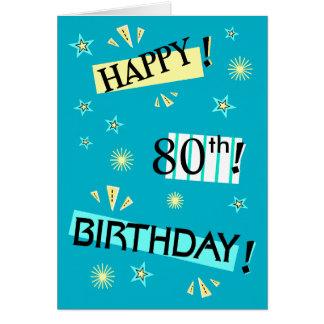 Fun Color Block 80th Birthday Greeting Card