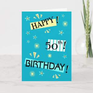 Fun 50th birthday greetings gifts on zazzle fun color block happy 50th birthday greeting card m4hsunfo
