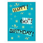 Fun Color Block Happy 60th Birthday Greeting Card