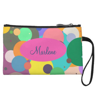 Fun color circles spots dots wristlet bag