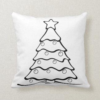 Fun Color Me Christmas Tree Crafty Throw Pillow