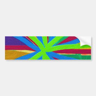Fun Color Paint Doodle Lines Converging Pin Wheel Bumper Sticker