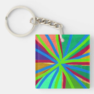 Fun Color Paint Doodle Lines Converging Pin Wheel Keychain