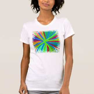 Fun Color Paint Doodle Lines Converging Pin Wheel Tees