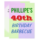 "[ Thumbnail: Fun, Colorful ""40th Birthday Barbecue"" Invitation ]"