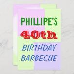 "[ Thumbnail: Fun, Colorful ""40th Birthday Barbecue"" Invitation ]"