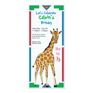 Fun Colorful African Design Giraffe Birthday Card