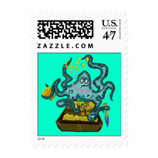Fun Colorful Aqua Teal Octopus Sea Postage Stamps