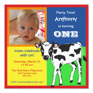 Fun Colorful Baby Cow Photo Invitation