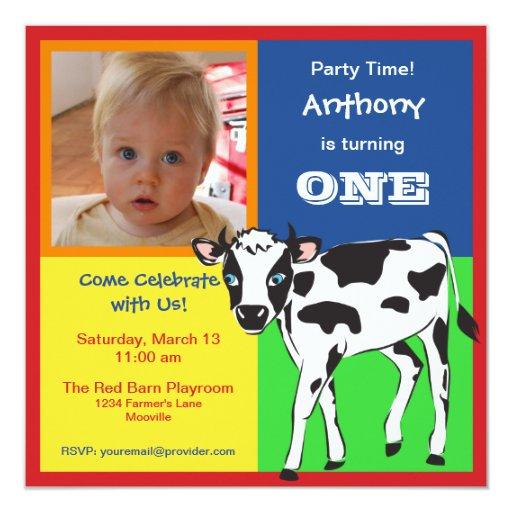 Fun Colorful Baby Cow Photo Invitation