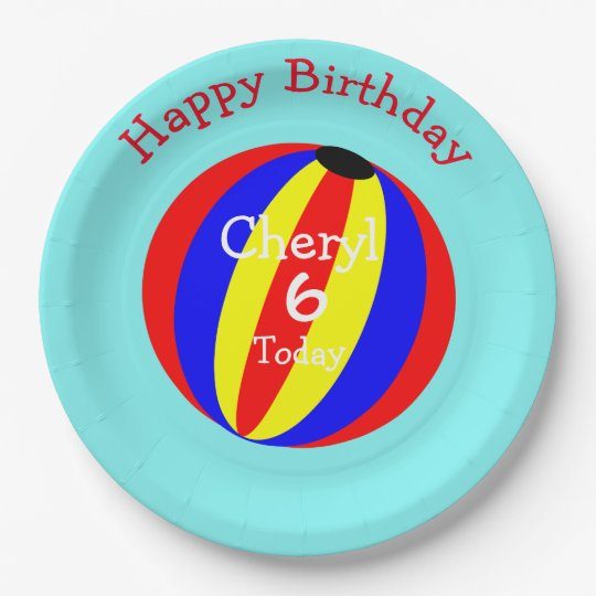 fun colorful beach ball paper plate zazzle com