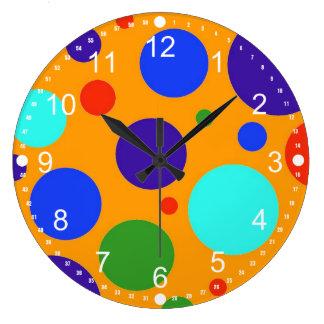Fun Colorful Big Polka Dots Blue Orange Green Large Clock