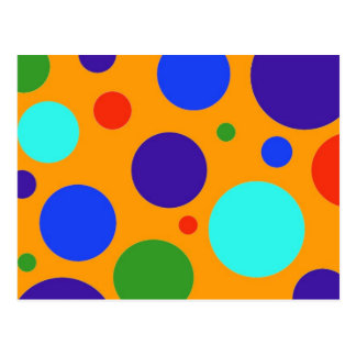 Fun Colorful Big Polka Dots Blue Orange Green Postcard