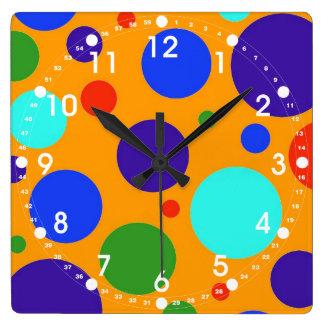 Fun Colorful Big Polka Dots Blue Orange Green Square Wall Clock