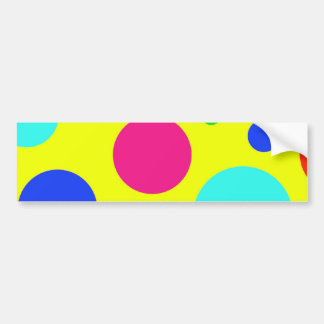 Fun Colorful Big Polka Dots on Yellow Bumper Sticker