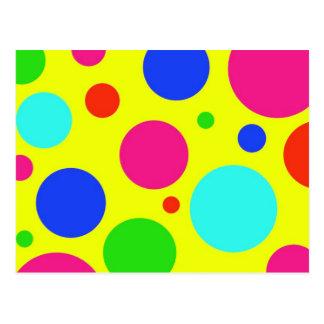 Fun Colorful Big Polka Dots on Yellow Postcard