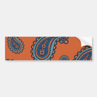 Fun Colorful Blue and Orange Paisley Pattern Bumper Stickers