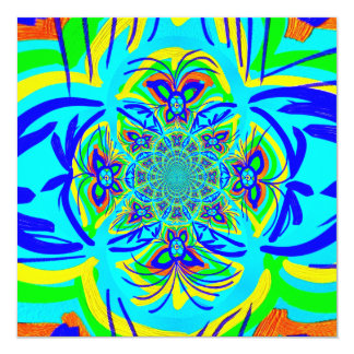 Fun Colorful Butterfly Flower Abstract Fractal Art Card