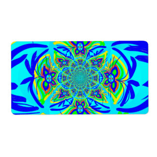 Fun Colorful Butterfly Flower Abstract Fractal Art Shipping Label