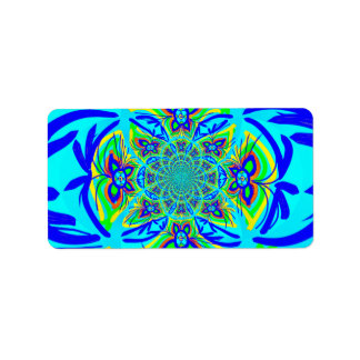 Fun Colorful Butterfly Flower Abstract Fractal Art Address Label